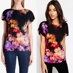 Ted Baker London Cascading Floral Short Sleeve Top